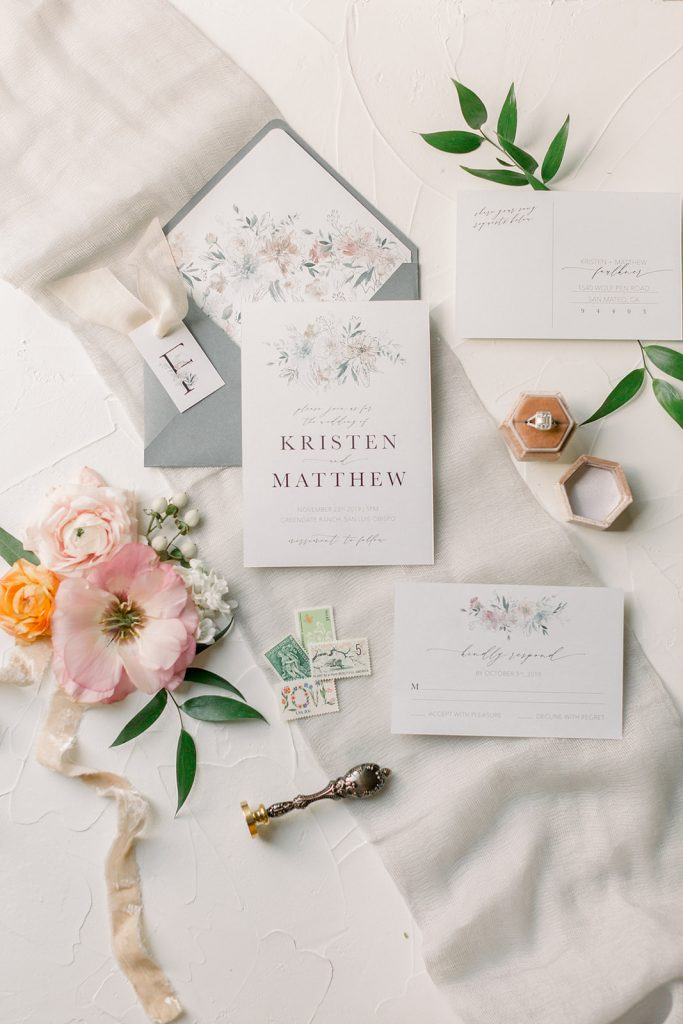 wedding invitation flatlay by CH&LER